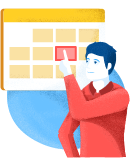 Sketch of man pointing at a schedule