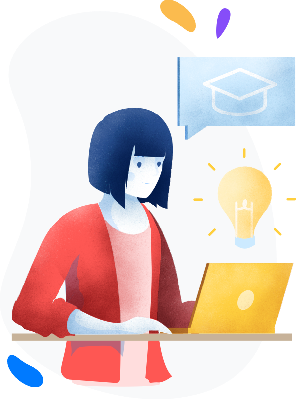 Sketch of a woman taking surveys on her laptop